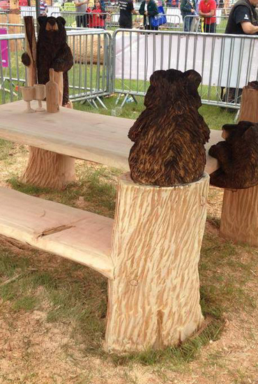 Picnic Table with Wine bottle and Bears